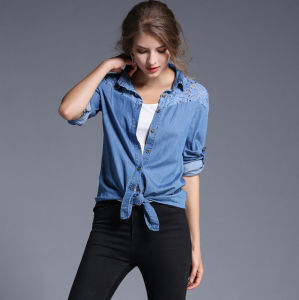 Wholesale Autumn New Desing Collar with Buttons Lace Washed Long Sleeves Lady′s Jean Shirt pictures & photos