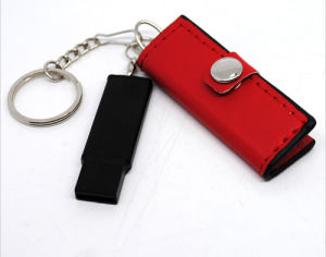 Customized Leather USB Flash Driver with Keychain pictures & photos