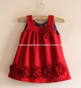 Elegant Red Flower Woolen Vest Girls Dresses Cute Kids Dress Classic Brand Children Clothing