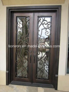 Security Wrought Iron Door Grill with Glass for Villa pictures & photos