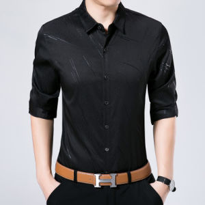 Long Sleeve Men Shirts with Thermo Print Fringe Pattern pictures & photos