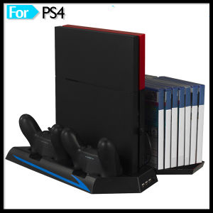 Vertical Cooling Fan Stand for PS4 Console with Controller Charger Discs Shelf pictures & photos