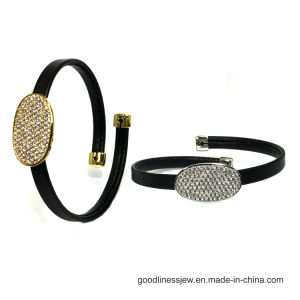 Made in China Price of Black Leather Bracelet with Colorful CZ 925 Silver Bracelet (BT6768) pictures & photos