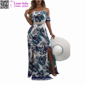 Irene off The Shoulder Printed Maxi Dress L51411 pictures & photos