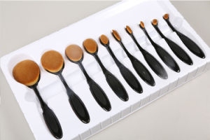 10PCS Black Gold Oval Toothbrush Professional Makeup Brushes Sets pictures & photos