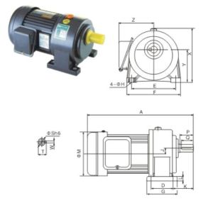 2# Gearbox with Shaft Dia 22mm with 1-Phase Motor pictures & photos