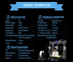 Anet Super Helper Desktop New Condition Open Builds Extrusion 3D Printer pictures & photos
