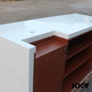 Modern White and Orange Solid Surface Reception Desk for Office pictures & photos