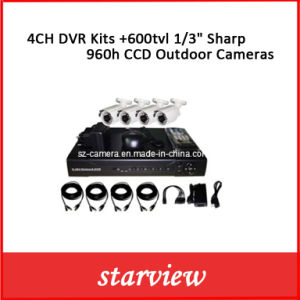 "4CH DVR Kits +600tvl 1/3"" Sharp 960h CCD Outdoor Cameras pictures & photos"