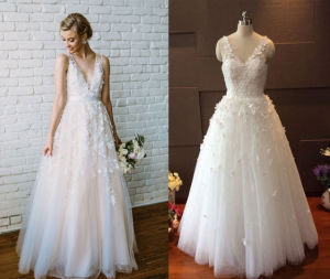 V Neck Tulle Beach Flower Wedding Gown pictures & photos