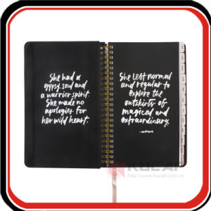 Hidden Spiral Black Canvas Hardcover Journal Notebook with Dividers pictures & photos