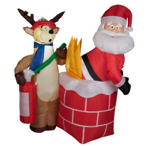 Shop or Family Christmas Roof Decoration Inflatable Santa Claus on Fire pictures & photos