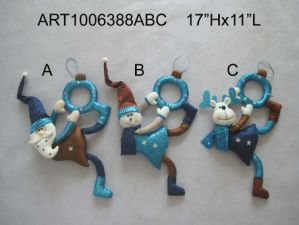 Santa, Snowman and Moose Christmas Decoration Doorknob, 3 Asst pictures & photos