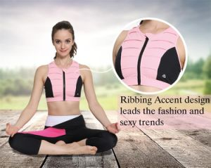 Wholesale Custom Pink Dyed Pleated Ladies Front Zip Sports Bra pictures & photos