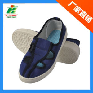 ESD Cleanroom Worker Shoe, Antistatic 4-Eyes Canvas Work Shoes pictures & photos