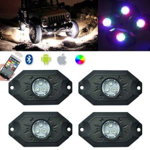 RGB LED Rock Light Kits Cellphone APP Bluetooth Control with 4 Pods Lights for Jeep off Road Truck Car ATV SUV Vehicle Boat
