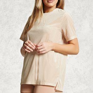 Ladies Fashion Short Sleeves Velvet Strape T-Shirt Blouse pictures & photos