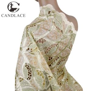 Beige African Polyester Organza Lace Fabric Handcut pictures & photos