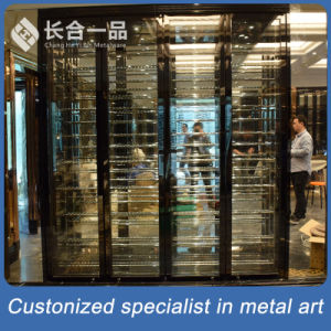 High Quality 304# Stainless Steel Back Titanium Wine Cabinet pictures & photos