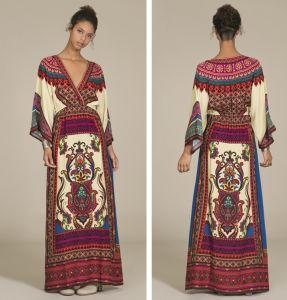 Wholesale Deep V Neck Long Sleeve Summer Abaya/Kimono/Kaftan (A980)