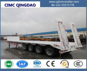 Cimc 4 Axles Low Flatbed Truck Trailer, 16m Lowbed Semi Trailer Truck Chassis pictures & photos