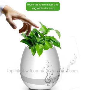 Hot Selling Wireless Bluetooth Speaker Smart Touch Music Flowerpot with LED Light pictures & photos