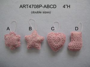 "4""H Pink Crochet Tree Ornaments-4asst-Christmas Decoration pictures & photos"