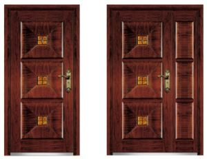 Solid Steel Wood Armored Door Single Door Son Mother Door pictures & photos