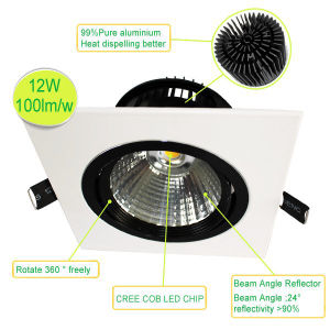 Embed Ceiling Rotatable Adjustable Dimmable 12W COB LED Downlight pictures & photos