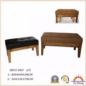 2 PC Faux Leather Button Tufted Fir Wood Upholstered Bench for Living Room pictures & photos