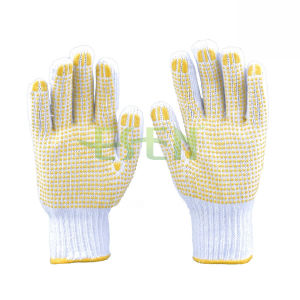Natural White Cotton Kintted Working Gloves Coated with PVC Dots on Plam pictures & photos