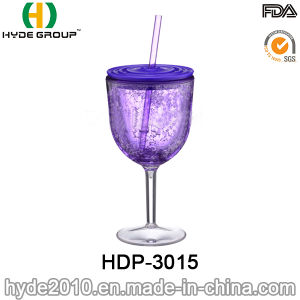 Wholesale 12oz BPA Free Plastic Wine Tumbler with Straw (HDP-3015) pictures & photos