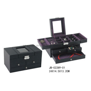New Design Classic Black Leather Multi Function Jewelry Storage Box Jewelry Box pictures & photos