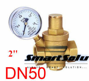 Dn50 Brass Water Pressure Regulator Valve with Pressure Gauge pictures & photos