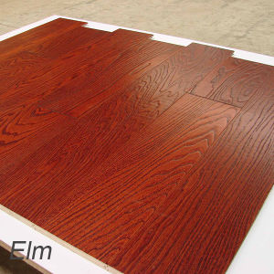 Solid Wood Flooring Elm Hardwood Flooring with Brushed Surface