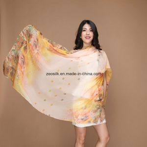 Chiffon Printed Scarf with Flowers pictures & photos