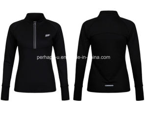High Quality Women Comfortable Micro-Elastic Sports Long-Sleeved T-Shirt pictures & photos