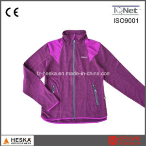 Women Cheap Knitted Melange Stitching Fleece Jacket pictures & photos