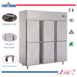 1.6LG Single Temperature Refrigerator Type 6 Door Commercial Stainless Steel Upright Chiller with CE pictures & photos