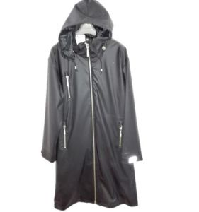 Black Hooded Solid Waterproof PU Raincoat pictures & photos
