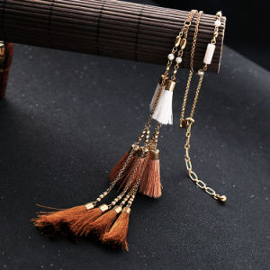 New Fashion Retro Ethnic Long Alloy Women′s Sweater Necklace Tassel Pendant with Pearl pictures & photos