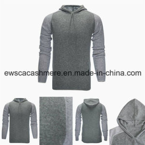 Men Hoodie Style Top Grade Pure Cashmere Sweater with Hat pictures & photos