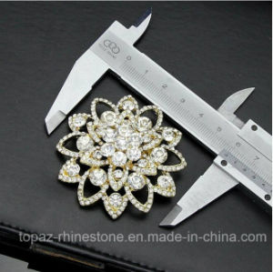 Us Style Gold Plating Crystal Alloy Brooch Corsage Pin (TB-025 flower) pictures & photos