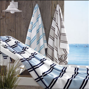 100% Cotton Velour Stripe Bath Towel Beach Towel pictures & photos