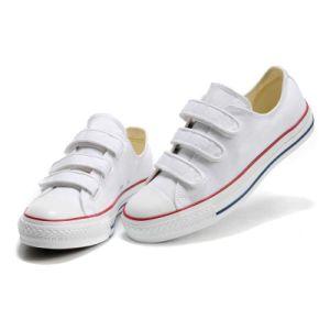 Velcro Strap Flat Plain White Canvas Sneakers Kids Skate Shoes pictures & photos