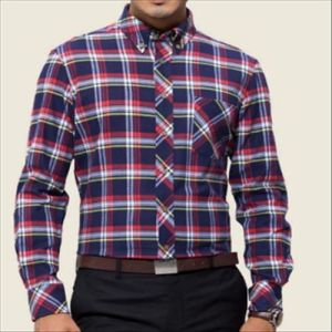Latest Design Men′s Fashion Checked Flannel Dress Shirt pictures & photos