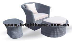 Leisure Sofa with Footrest Wicker Garden Furniture Bp-216 pictures & photos