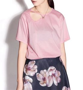 Women′s Pure Color Sexy Loose Hollow T-Shirt pictures & photos