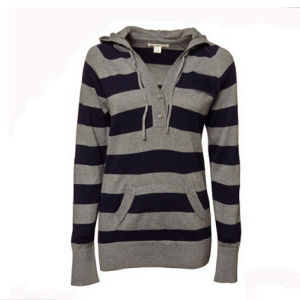 Leisure Winter Warm Women′s Black and Gray Strip Sweater pictures & photos