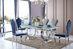 2016 Modern Round Glass Steel Base Dining Table with Chairs (tes) pictures & photos